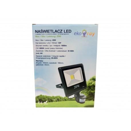 Eko naświetlacz LED 20W z czujnikiem